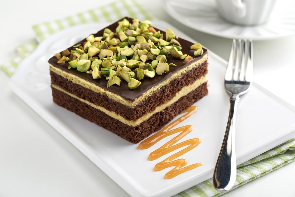 Chocolate cake and pistachios